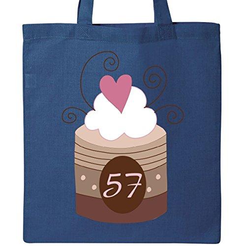 Inktastic 57th Birthday Cupcake Tote Bag Royal Blue