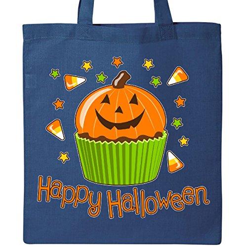 Inktastic Happy Halloween- cute pumpkin cupcake Tote Bag Royal Blue