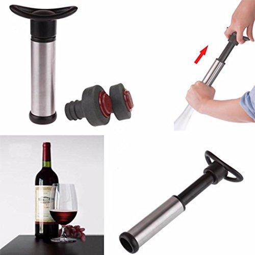 DDLBiz Stainless Steel Wine Bottle Vacuum Saver Sealer Preserver Bar Pump 2 Stoppers