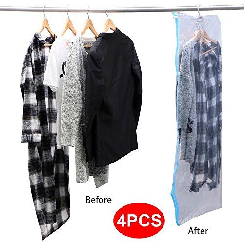 Yaheetech 4 Pcs Space Saver Vacuum Storage Bag Hanging Space Saving Transparent Seal Bags