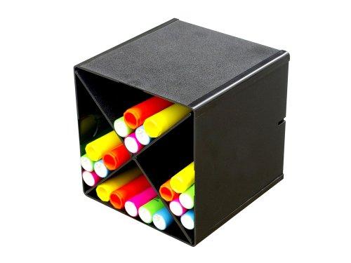 Deflecto Stackable Cube Organizer X Dividers Black 350204