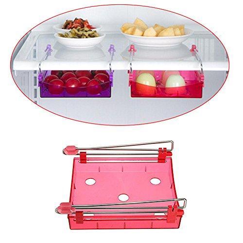Amrka Kitchen Fridge Freezer Space Organizer Saver Storage Rack Shelf Holder Red