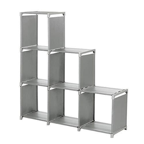 Ackful3-Tier Storage Cube Closet Organizer Shelf 6-Cube Storage Cabinet Bookcase Space-Saving Cube Storage Unit Grey