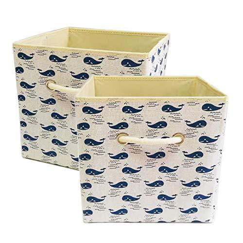 Genelion Durable 2-Packs Cube Storage BinsFoldable Fabric Storage Cubes Closet Organizer, Child Toy Storage - Whale