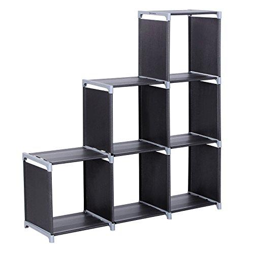 SONGMICS 3-tier Storage Cube Closet Organizer Shelf 6-cube Cabinet Bookcase Black ULSN63H Renewed
