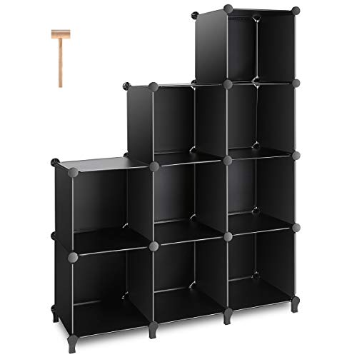 TomCare Cube Storage 9-Cube Closet Organizer Shelves Plastic Storage Cube Organizer DIY Closet Organizer Storage Cabinet Modular Book Shelf Shelving for Bedroom Living Room Office Black