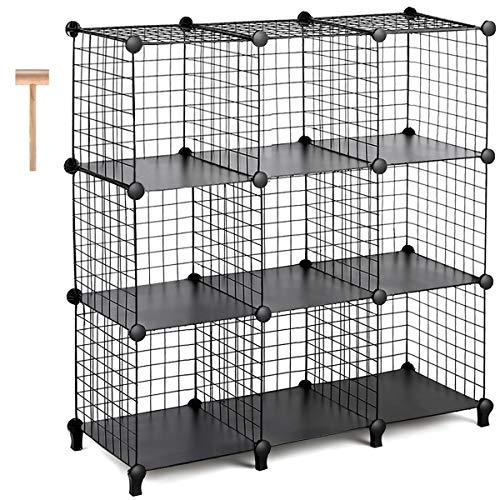 TomCare Cube Storage 9-Cube Metal Wire Cube Storage Storage Cubes Shelves Cube Closet Organizer Stackable Storage Bins DIY Storage Grids Modular Wire Cubes Bookshelf Bookcase for Home Office Black