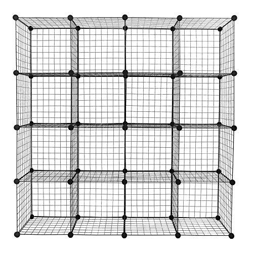 YQBOOM Big Cube Multi Use DIY 16 Cube Wire Grid OrganizerWardrobe Organizer Bookcase Book Shelf Storage Organizer Wardrobe Closet - Black Wire 16 Cube