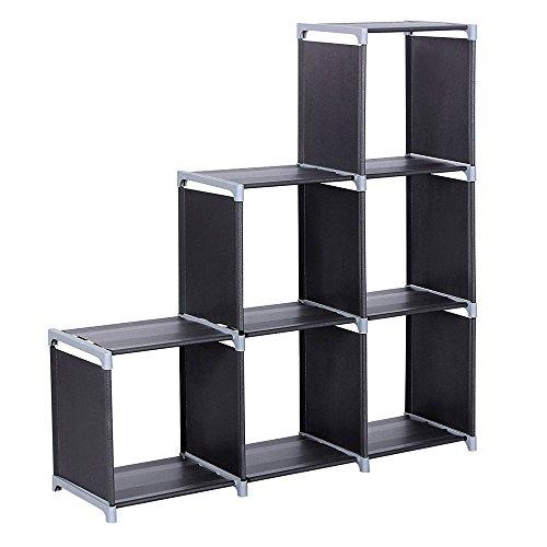 Yoolin Cube Storage Organizer Shelves Large Bookshelf 9-Cube Open DIY Plastic Closet Cabinet Cubes Organizing Storage Shelving Bookcase Rack for Bedroom Living Room Office Black 6-Cube