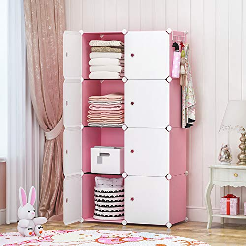 GEORGE&DANIS Kids Shelf Portable Closet Wardrobe Dresser Armoire Plastic Storage Cube Organizer for Teenagers Pink 14 inches Depth 2x4 Tiers