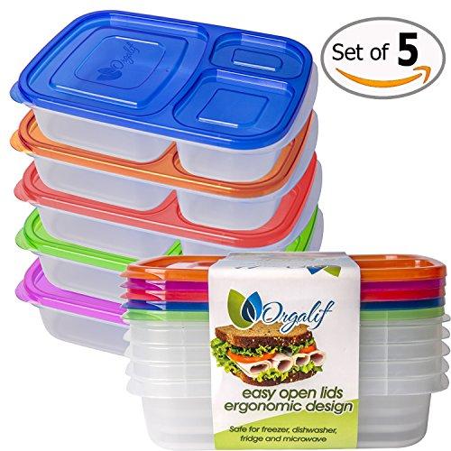 Orgalif 3-Comparment Reusable Plastic Bento Lunch Box Set of 5
