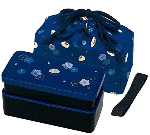 Japanese Traditional Rabbit Blossom Bento Box Set - Square 2 Tier Bento Box Rice Ball Press Bento Bag Blue