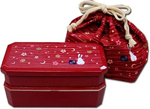 Japanese Traditional Rabbit Moon Bento Box Set Red