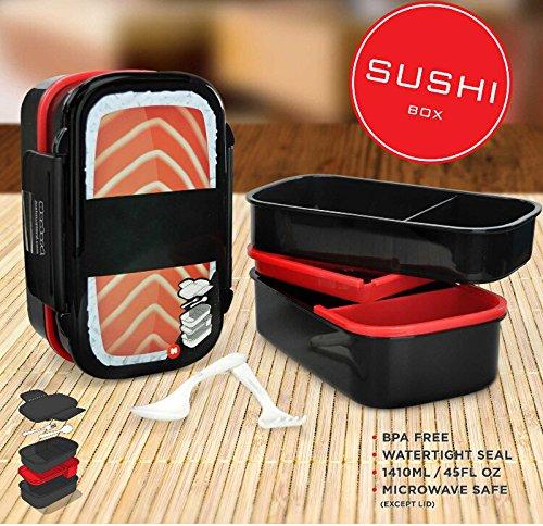 Salmon Double Layer Bento Box Plastic Bento Lunch Box Food Container Storage Box