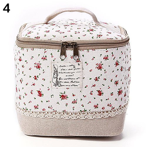 Travel Dot Floral Bento Box Lunch Bag Cosmetic Makeup Bag Storage Case Red