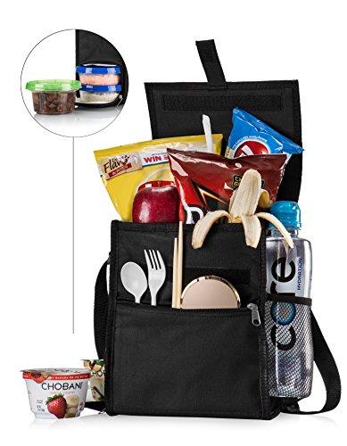 Insulated Lunch Bag with Side Flap for Men Women or Kids  Foldabale Easy Lunchbox Bag with Handle Strap Adjustable Shoulder Strap Bottle Holder Multiple Compartments