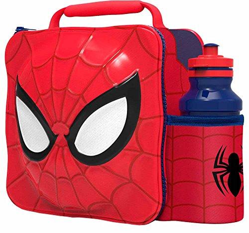 SPIDERMAN Kids Children 3D Lunch Box Bag With Sport Water Bottle