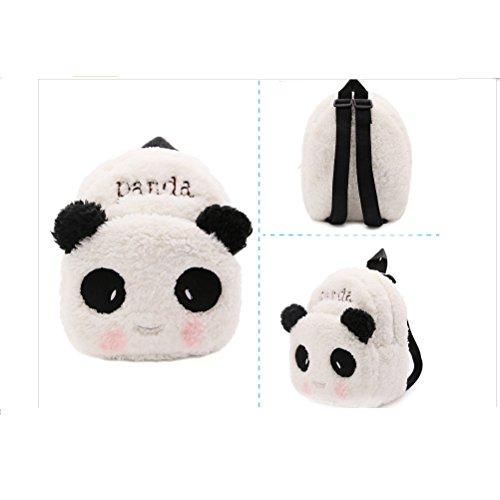 YUEKUI Kindergarten Satchel Childrens Lunch Bag Panda Backpack Cute Plush Bags Toddler Satchel Lovely White