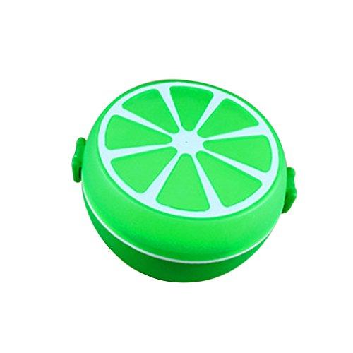 MuLuo Korean Circular Portable Plastic Lunch Box Kids Cute Lemon Shape Bento Food Container yellow