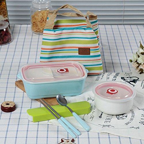 ZEM-PXD Ceramic Microwave Lattice Solid Rectangular Box Lunch Box Cover Separate Adult Cassette E