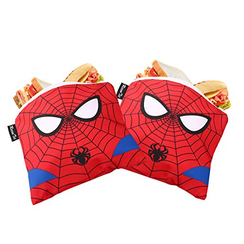 RecooTic Reusable Sandwich Bags Spiderman Snack Bags with Zipper - Washable Lunch Bags - Set of 2