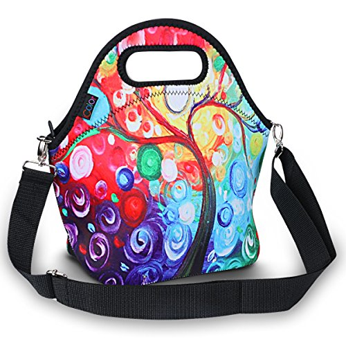 ICOLOR Insulated Neoprene Lunch Bag - Removable Shoulder Strap - Large Size Reusable Thermal Thick Lunch Tote Bags For WomenTeensGirlsKidsBabyAdults-Lunch Boxes For OutdoorsWork Office School