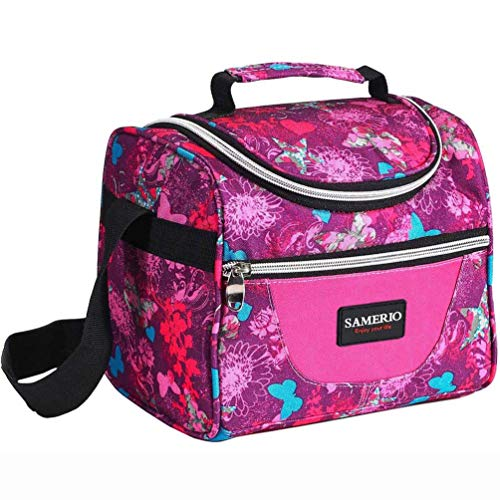 Lunch Bag for Kids Insulated Lunch Box for Girls Boys Children Student Cooler Lunch Tote Bag With Adjustable Shoulder Strap and Front Pocket Perfect for School Work Picnic Outdoor Activitiesrose