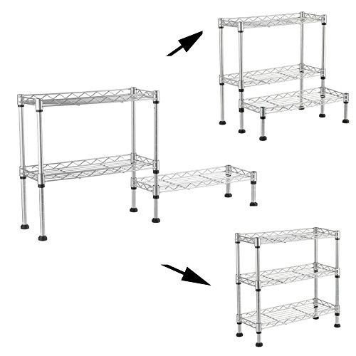Adjustable Steel 3 Tier Spice Rack Kitchen Cabinet and Counter Storage Shelf Organizer DIY Wire 3 Shelving Unit