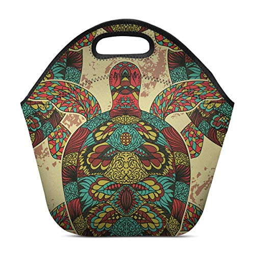 InterestPrint Vintage Tribal Turtle Reusable Insulated Neoprene Lunch Tote Bag Cooler 1193 x 1122 x 669 Portable Lunchbox Handbag for Adults Men Women