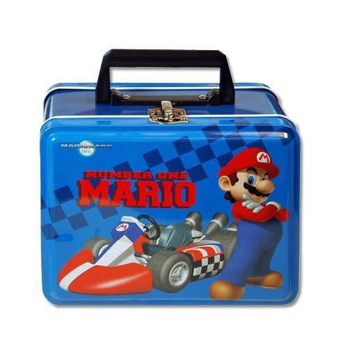Lunch Box - Nintendo - Super Mario - Metal Tin Case w Plastic Handle Clasp