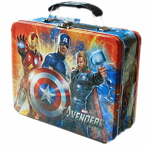 Marvel Avengers Official Tin Lunchbox Metal Lunch Box Toy Storage Case for Kids Orange - Thor Captain America Iron Man