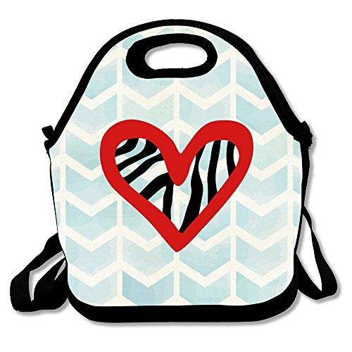 Waterproof Heart Love Zebra Lunch Bags For Adults