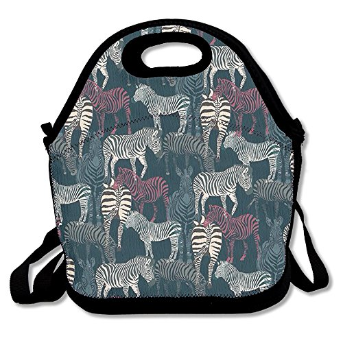 Zebra Lunch Bag Box Travel Outdoor Lunchboxes Lunch Tote Handbag For Kids And Adults