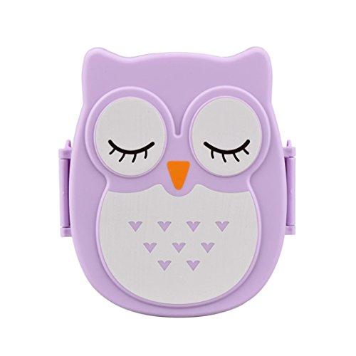 LEERYA Owl Lunch Box Food Container Storage Box Portable Bento Box Purple