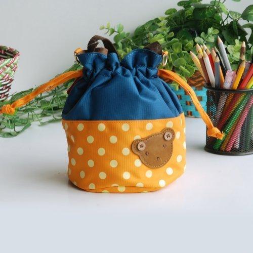 Bear - Orange Blancho applique Kids fabric Art bucket bag  lunch lunch box  shopping bag 1981cm  1448cm  1600cm