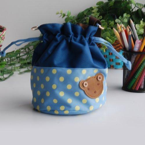 Bear - Sky Blue Blancho applique Kids fabric Art bucket bag  lunch lunch box  shopping bag 1981cm  1448cm  1600cm