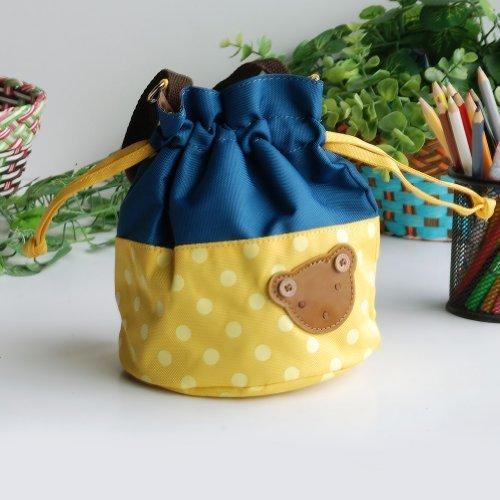 Bear - Yellow Blancho applique Kids fabric Art bucket bag  lunch lunch box  shopping bag 1981cm  1448cm  1600cm