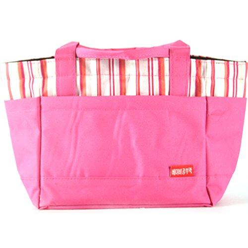 Insulation Bag Lunch Bag for Lunch-box Shopping Bag Reusable Picnic Bag Tote Bag Cooler Bag Storage Bag Big Capacity Pink