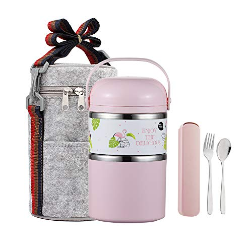 YBOBK HOME Cute Bento Lunch Box with Flatware Set Stackable Lunch Box Stainless Steel Lunch Box Leak Proof Bento Box Insulated Reusable Meal Prep Container for Kids and Adults 2-Tier Pink