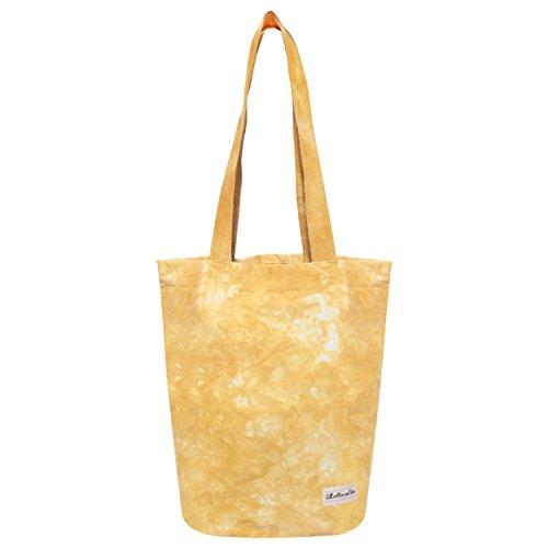 Cotton Canvas Bag Reusable Tie and dye Shopping Bags Canvas Tie and Dye Tote Bag Cotton Grocery Bags Canvas Grocery Bag Tote Bag Yoga Bag Duffel Bag Tie dye yellow 14 x 15