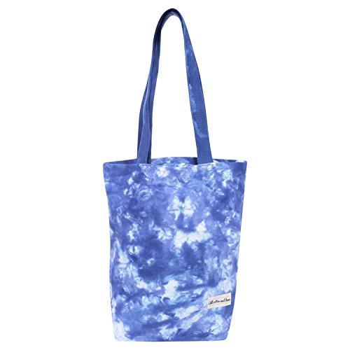 Cotton Canvas bag Reusable Shopping Bags Canvas Tote Bag Cotton Grocery Bags Canvas Grocery Bag Tote Bag yoga bag Duffel bag Tie dye blue 14 x 15