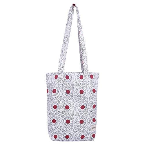 Cotton Canvas bag reusable Printed shopping bags canvas Printed tote bag cotton grocery bags canvas grocery bag Tote Bag yoga bag Duffel bag Red print 14 x 15