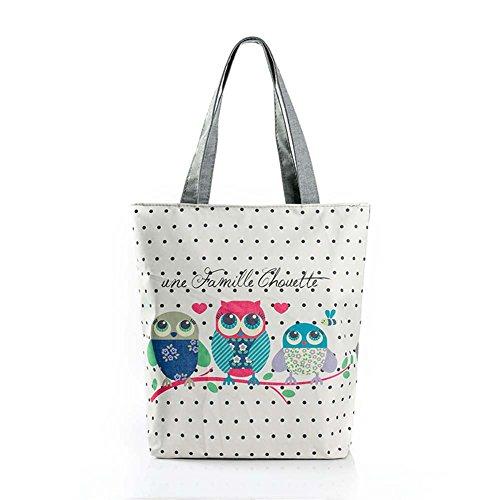 Simmer Stone Cartoon Owl Pattern Ladies Bags Handbag Shopping Bag Single Shoulder Canvas Reusable Grocery Bags CB104