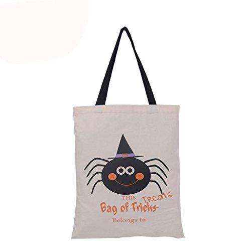 Tharv Halloween Candy Bag Gift Bag Lovely Pumpkin Spinne Decoration Encryption Canvas Reusable Shopping Bag Handbag Size 36 x 48cm E