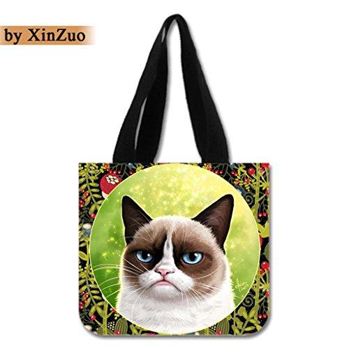 XinZuo Custom Tote Bag Cat Cotton Canvas Reusable Shopping Bag2 Sides