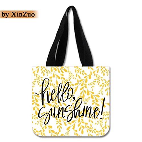 XinZuo Custom Tote Bag Hello Sunshine Cotton Canvas Reusable Shopping Bag2 Sides