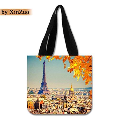 XinZuo Custom Tote Bag Paris City Cotton Canvas Reusable Shopping Bag2 Sides