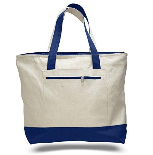Reusable Zipper Shopping Tote Bag Heavy Canvas Two Tone Royal Set of 1