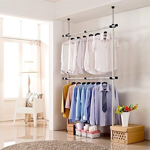 Asunflower Adjustable Clothing Racks 2-Tier Closet Organizer System Steel Pipe Garment Rack Heavy-Duty Ivory US Shipping