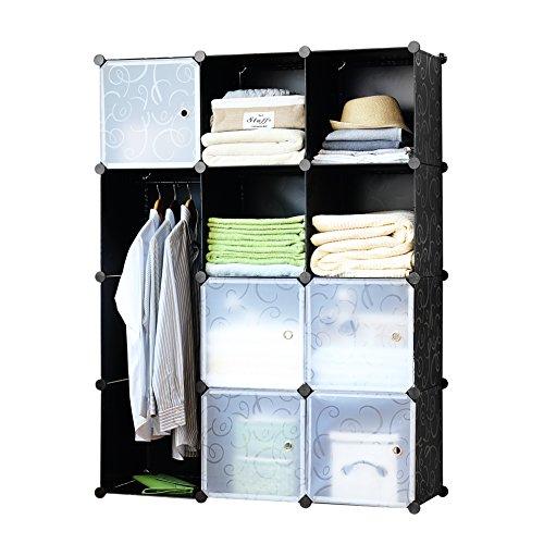 Finnhomy DIY 12 Cube Organizer Storage Cabinet Bookcase Storage Organizer Shoes Storage Modular Storage Cabinet Wardrobe Closet Organizer System for Clothes Toys